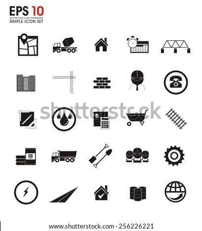 architecture and civil engineering silhouette icons
