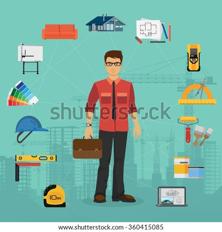 Architecture and Construction flat concept with icons. Architecture concept, Architecture  image, Architecture illustation, Architecture collection, Architecture engineer set. - stock vector