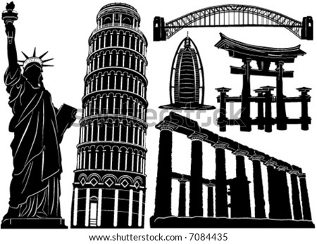 architecture and historical building vector 3 - stock vector