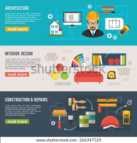 Architecture and interior design concept vector banners with architecture icons - stock vector
