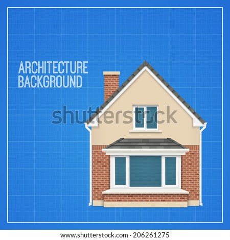 Architecture background with detailed house on a blueprint. Vector illustration - stock vector