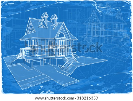 architecture blueprint - 3d house / vector illustration / Eps10 - stock vector