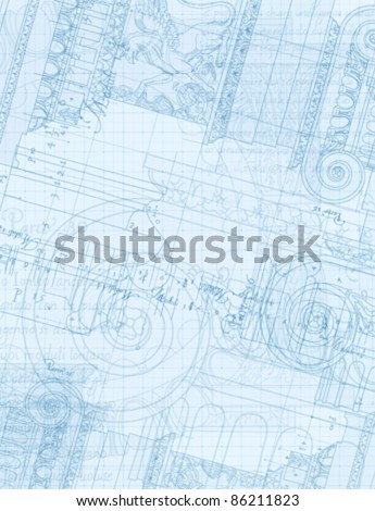 """Architecture Blueprint - Hand draw sketch ionic architectural order based """"The Five Orders of Architecture"""" is a book on architecture by Giacomo Barozzi da Vignola from 1593. Vector illustration. - stock vector"""