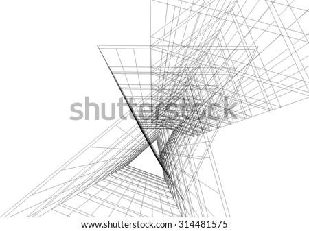 Architecture building. Design background - stock vector