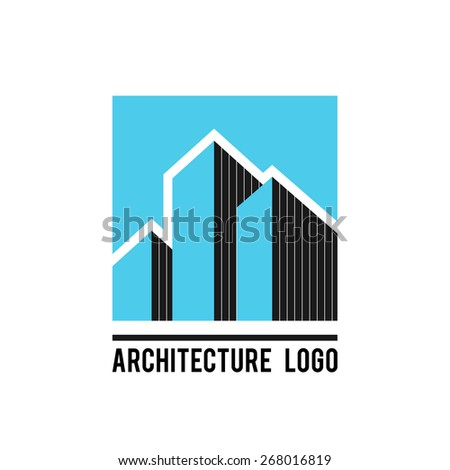 Architecture buildings vector label design template - stock vector