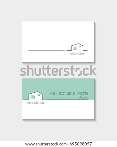 Architecture business card blue color vector stock vector 695098057 architecture business card blue color vector illustration realtor design template reheart Images
