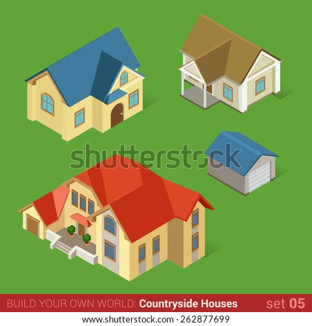 Architecture classic countryside houses buildings icon set flat 3d isometric web illustration vector. Maison home cottage townhouse and garage. Build your own world web infographic collection. - stock vector