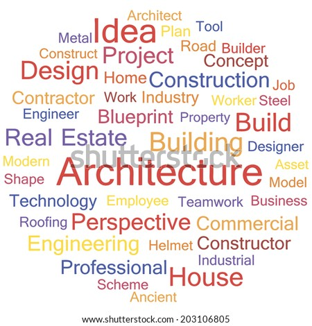 Architecture concept on white background word cloud, vector. - stock vector