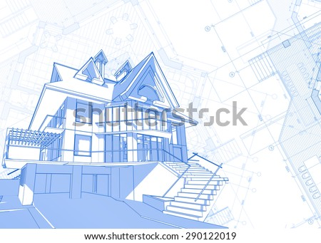 Architecture design: blueprint - house  & plans - vector illustration - stock vector