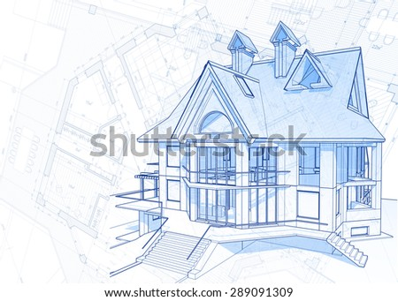 Architecture design: blueprint house - vector illustration - stock vector