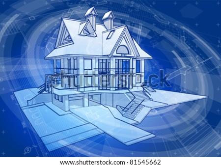 Architecture design: house, blueprint plans & blue technology radial background - vector illustration. Eps 10 - stock vector