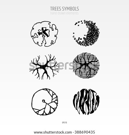 Different Hand Drawn Trees Isolated On Stock Vector 393547609