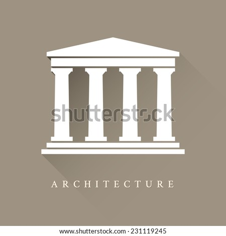 Architecture greek building symbol - stock vector