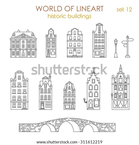 Architecture historic old buildings graphical lineart style icon set. Amsterdam Holland Netherlands, Venice Italy. World of line art collection. - stock vector