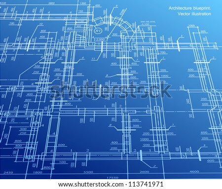 Architecture house plan background. Vector blueprint - stock vector