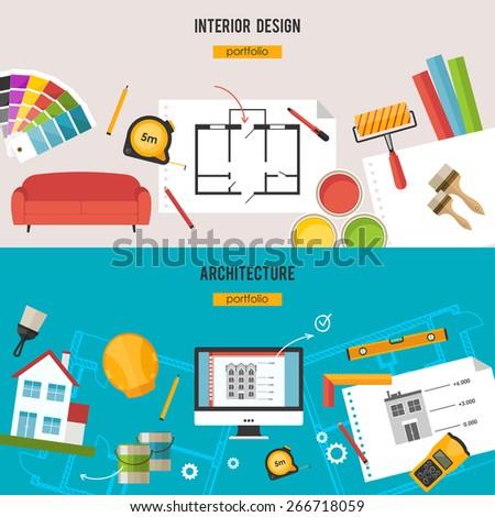 Architecture, Interior design and repairs  concept - stock vector