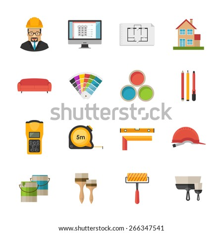 Architecture, Interior design and repairs vector black icons set - stock vector