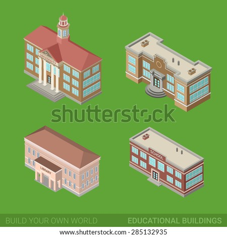 Architecture modern city historic educational buildings icon set flat 3d isometric web illustration vector. Public library university school government. Build your own world web infographic collection - stock vector