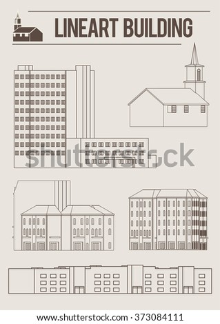 Architecture old buildings graphical line art style icon set. World of line art vector - stock vector