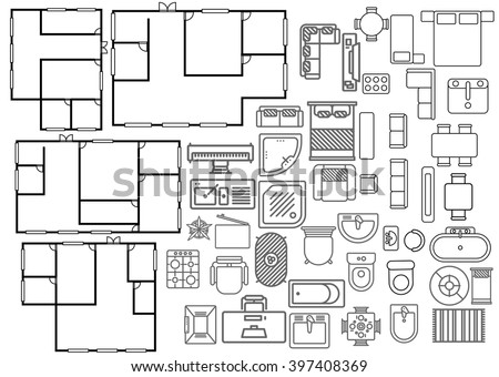 Architecture plan in top view  - stock vector