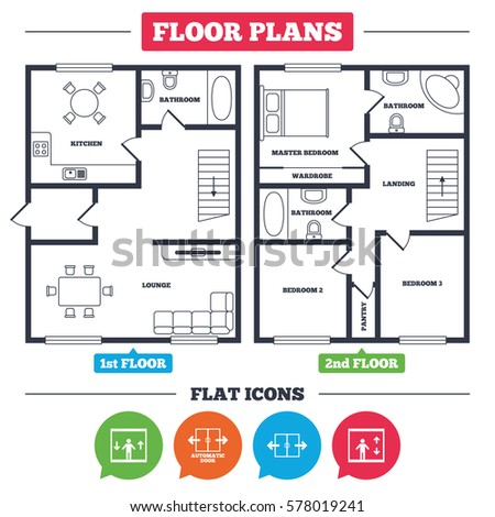 Architecture Plan Furniture House Floor Plan Stock Vector 578019241