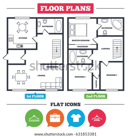 Architecture Plan With Furniture. House Floor Plan. Cloakroom Icons. Hanger  Wardrobe Signs.