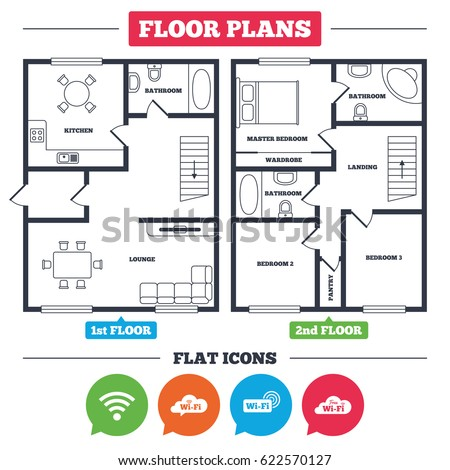 Architecture Plan With Furniture. House Floor Plan. Free Wifi Wireless  Network Cloud Speech Bubble