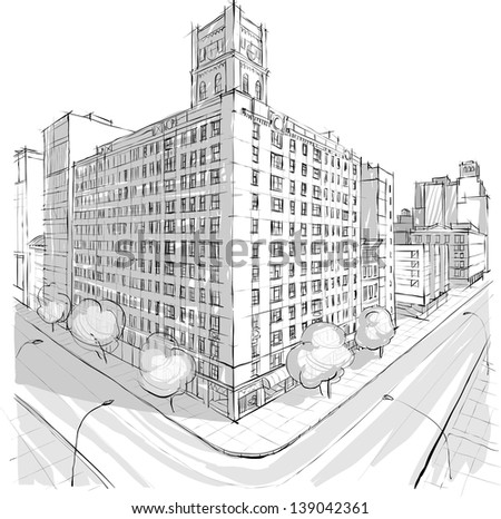 Architecture sketch - stock vector