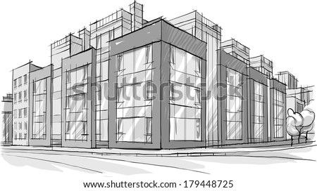 Architecture Buildings Sketch architecture sketch drawing buildingcity stock vector 179448743