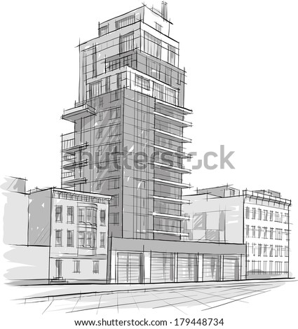 Architecture Buildings Sketch architecture sketch drawing buildingcity stock vector 179448734