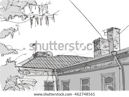 Architecture sketch. Hand drawn vector illustration. Doodle drawing. Architecture elements,