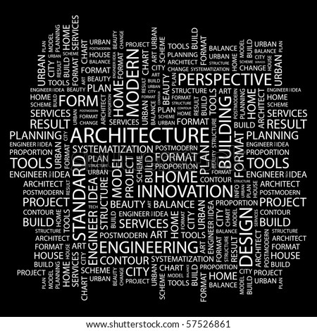 ARCHITECTURE. Word collage on black background. Illustration with different association terms. - stock vector