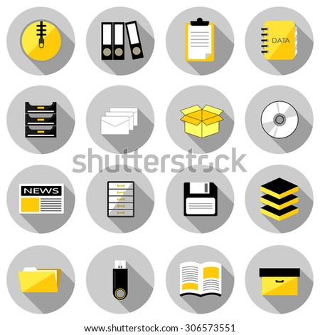 archive flat icon set vector illustration design with long shadow isolated on white background. for web and mobile application - stock vector