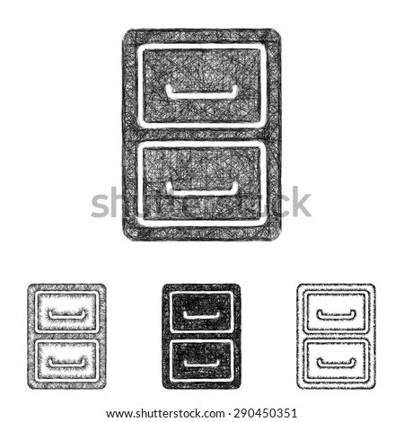 Archive icon design set - sketch line art - stock vector
