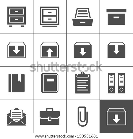 Archive icon set. Simplus series. Each icon is a single object (ideal for web and app icons) - stock vector