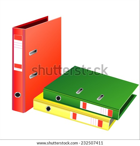 Archive. Many folders on white isolated background - stock vector