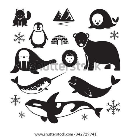 Arctic Animals Silhouette Set, Winter, Nature Travel and Wildlife - stock vector