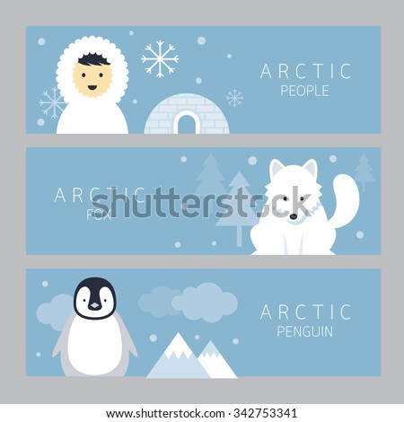 Arctic Banner, People, Fox and Penguin, Winter, Nature Travel and Wildlife - stock vector