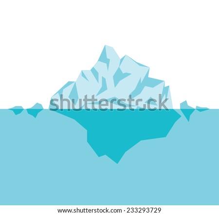 Arctic iceberg in the ocean, vector illustration on white background - stock vector
