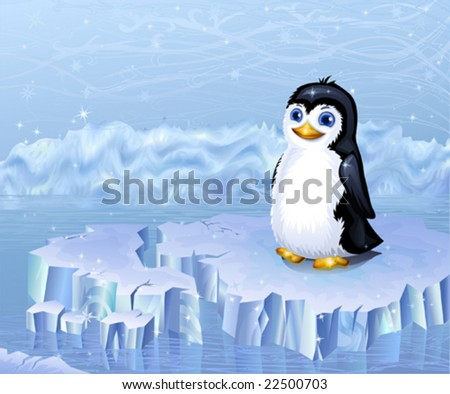 Arctic landscape and a penguin sitting on an ice floe