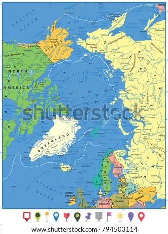 Arctic Ocean Political Map Flat Map Stock Vector 794503114
