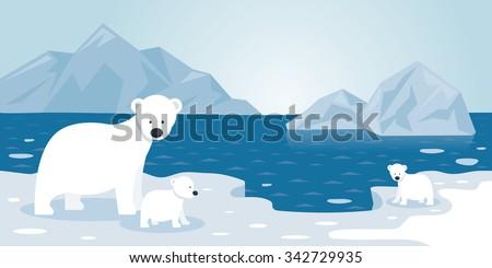 Arctic Polar Bear Iceberg Scene, Mother and Baby, Winter, Nature Travel and Wildlife - stock vector