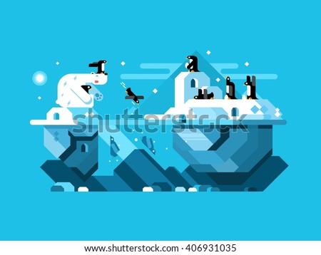 Arctic polar bear with penguins - stock vector