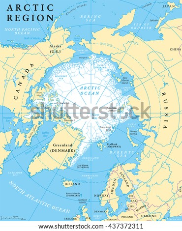 Arctic Region Map Countries Capitals National Stock Vector