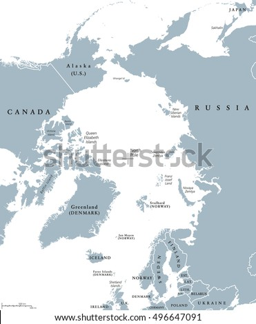 Arctic Ocean Map Stock Images RoyaltyFree Images Vectors - Arctic ocean on us map