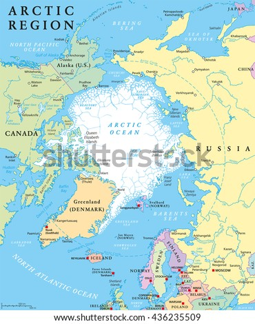 Arctic region political map with countries, capitals, national borders, important cities, rivers and lakes. Arctic Ocean with average minimum extent of sea ice. English labeling and scaling. - stock vector