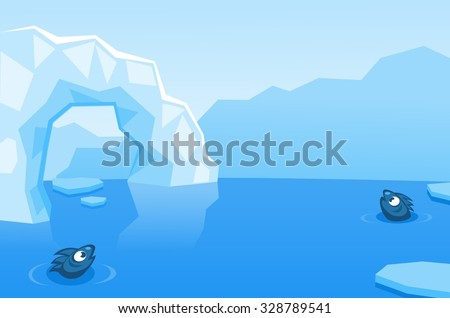 Arctic vector background with ice floes, icebergs, water and fishes - stock vector