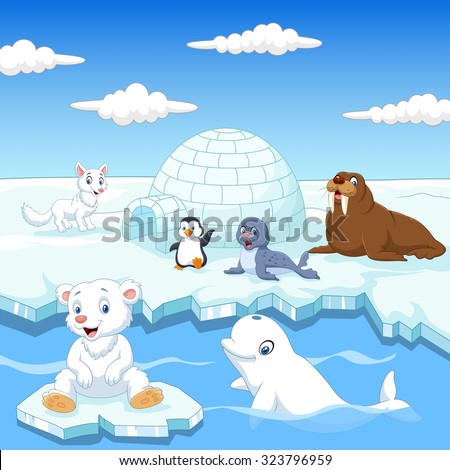 Arctics animals collection set with igloo ice house  - stock vector