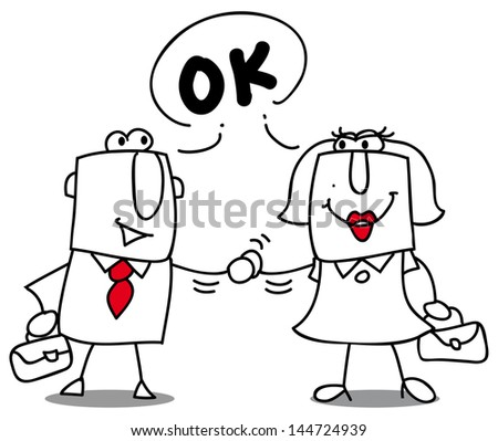Are you ok ? A businesswoman and a businessman shaking hands. - stock vector