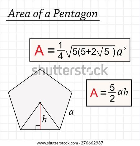 math worksheet : area pentagon stock vector 276662987  shutterstock : Area Formula For Pentagon